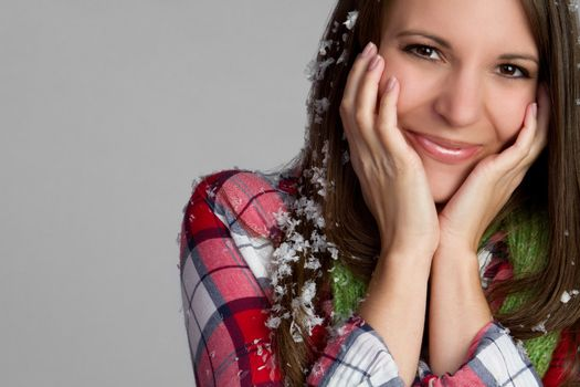 Beautiful winter snowflakes girl smiling