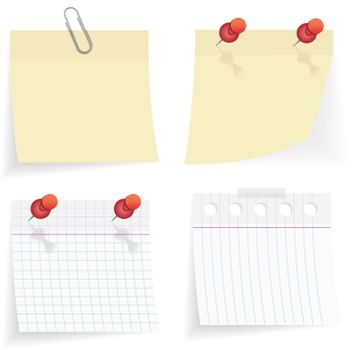 vector sticky paper set on white background
