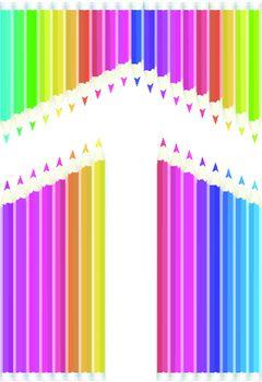 Colored pencils arrow shape on white background