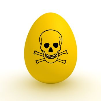 a single yellow egg with a black poison warning sign on it - polluted food