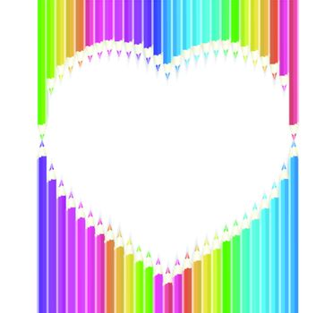 Colored pencils heart shape on white background