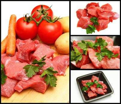 collage of red meat with ingredients