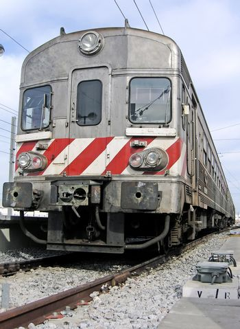 Low perspective view of a portuguese train.