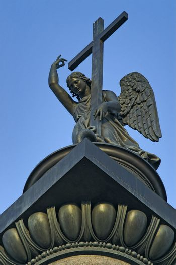 Angel sculpture atop the Alexander Column built by Auguste de Montferrand in 1834 to symbolize the Russian victory in war with Napoleon's France