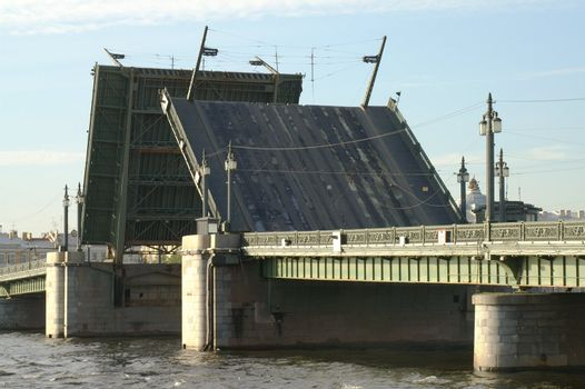Raising the Schmidt's Bridge over Neva river in Saint Petersburg, Russia