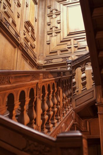Red Wood Staircase in Roumiantsev's Mansion in Saint Petersburg.