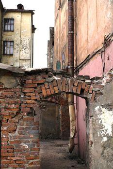 Inhabited urban slums in the center of Saint Petersburg, Russia.