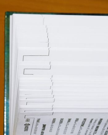 The cutting face of a phone directory with fanned pages.