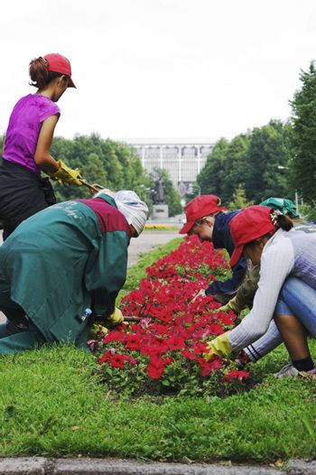 Girls Doing Gardening in City Park