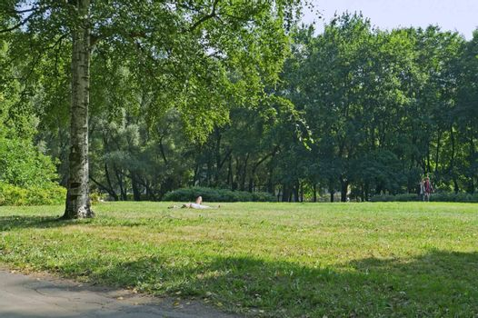 City park in summer and girl lying far off on grass and taking sunbathing.