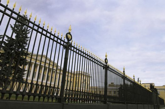 Metal Fence of Russian Museum in Saint Petersburg, Russia.