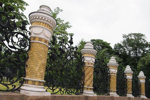 Iron Fence of the Mikhailovsky Garden in Saint Petersburg, Russia.