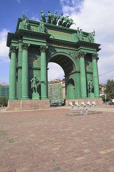 Narva Triumphal Arch in Saint Petersburg, Russia.