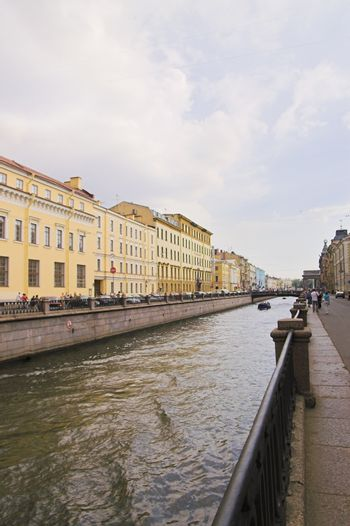 River Channel and Embankment in Saint Petersburg, Russia.
