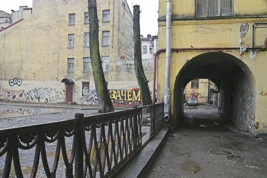 Old arch building in back alley
