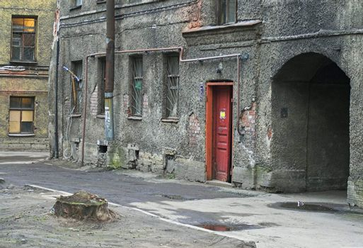 Old building and arch in back alley