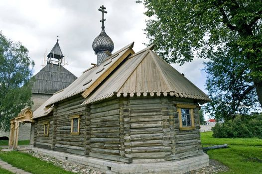 Ancient Russian loghouse church near Saint Petersburg, Russia.