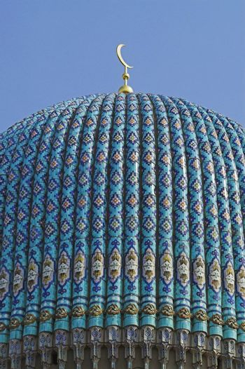 The top of the tiled dome With Arabic mosaics of the ancient mosque in Saint Petersburg, Russia.