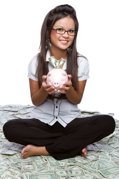 Money woman holding piggy bank
