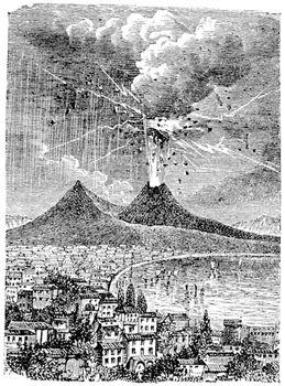 Eruption of Mount Vesuvius, in Naples, Italy, in 1872, vintage engraved illustration. Trousset encyclopedia (1886 - 1891).