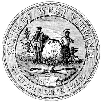 Seal of the State of West Virginia, USA, vintage engraved illustration. Trousset encyclopedia (1886 - 1891).