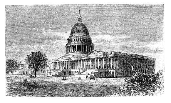 United States Capitol, in Washington, D.C., USA, vintage engraved illustration. Trousset encyclopedia (1886 - 1891).