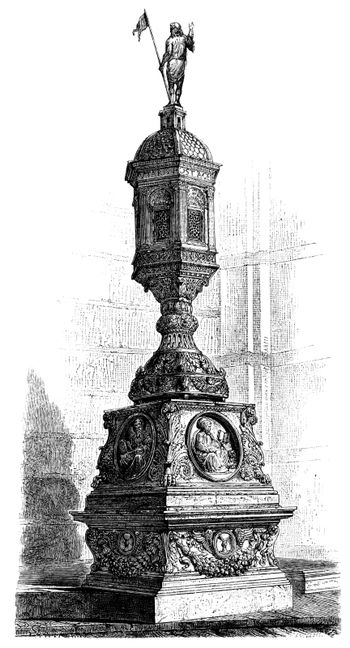 Old engraved illustration of the Tabernacle as a Church of San Domenico in Siena, Tuscany, Italy, attributed to Michelangelo, drawing by Charles Francois Sellier.