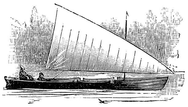 Lateen Rig, vintage engraved illustration. Trousset encyclopedia (1886 - 1891).