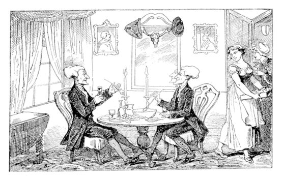 Old engraved illustration of Dr Syntax and his counterpart enjoying their drinks and food while two women looking at them, 1874.  Created  by Thomas Rowlandson. Le Magasin Pittoresque - 1874.