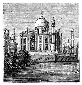Taj-Mahal, India. Old engraved illustration of the famous Taj-Mahal. Engraving from late 1800.