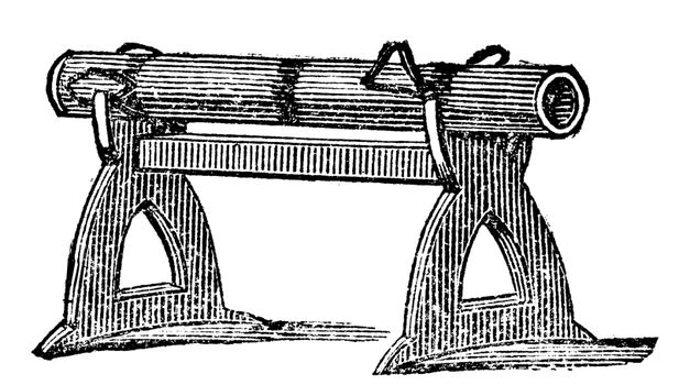 Engraving of a gun platform used at the Battle of Cressy in 1346. Old illustration of an antique gun used in the Hundred Year's war.