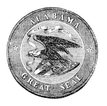 The Great Seal of the State of Alabama vintage engraving. Old antique illustration of the Alabam great seal. Round seal with and eagle holding three arrows in his claw and a streamer in his beak