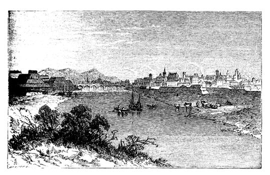 Alessandria city vintage engraving. In Piedmont, Italy, and the capital of the Province of Alessandria. Old engraved illustration, in vector.