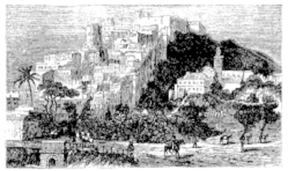 Algiers town vintage engraving. Algiers or Alger is the capital and largest city of Algeria. Old engraved illustration, in vector.