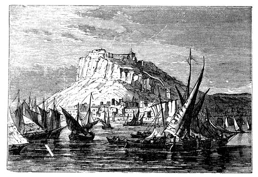 City of Alicante, Spain. Vintage scenic engraving of the city around 1890. Capital of the Province of Alicante and of the comarca of the Alacanti. Port town.
