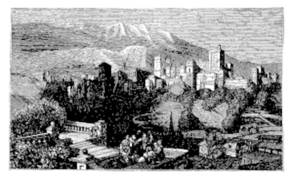 The Alhambra, in Granada, Spain. Old engraving around 1890, showing a group of people in front of the Alhambra fortress, also called the Red Palace.