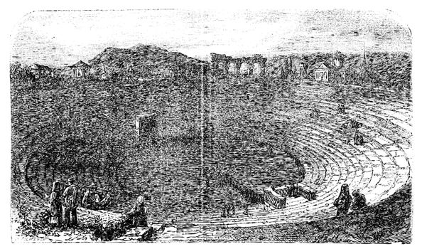 Verona Arena in 1890, in Verona, Italy. Vintage engraving. Engraved illustration of the Verona Arena, with people sitting and working. Vector illustration.