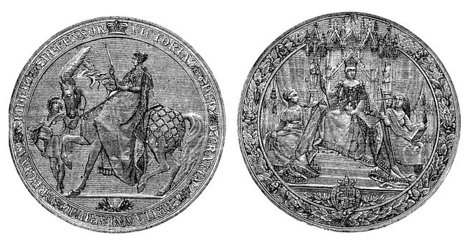 Great Seal of England by Queen Victoria vintage engraving. Old engraved illustration of the Victorian Great seal of Britain. Written Defensor Victoria Gratia Britanniarum Regina. Isolated on white