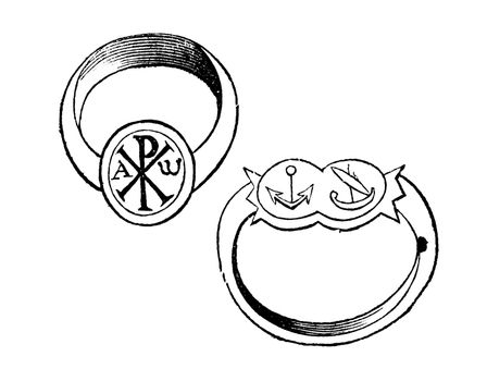 Two christian episcopal rings with symbols vintage engraving. Old engraved illustration of a bishp or archbishop ring, with the fish, dove and monogram of Christ, and the other with fin and branch.