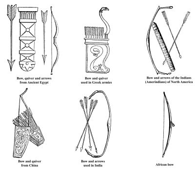 Ancient Egypt, Greek, Chinese, Indian, Amerindian and African bow, arrows and quiver old engraving, Engraved illustration of bow and arrows weapon used in ancient time.