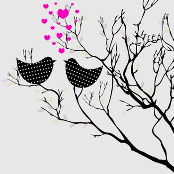 Valentine's  background with birds for you. vector illustration