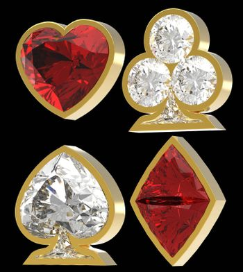 Diamond shaped Card Suits with golden framing