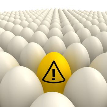 plenty of shiny eggshell white eggs and one yellow egg with an attention sign in the center