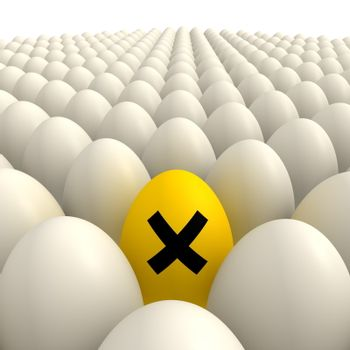 plenty of shiny eggshell white eggs and one yellow egg with a irritant sign in the center