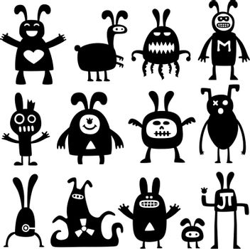 collection of funny cartoon rabbit monster silhouettes