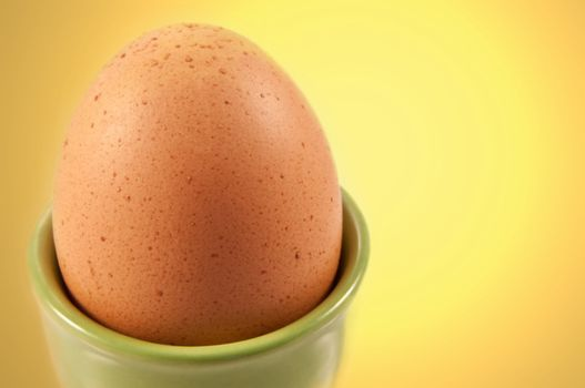 Close up boiled egg in ceramic cup with yellow background.