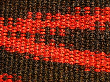 A photograph of red and black fabric.