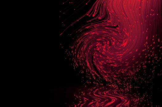 Crimson fiber optic light strands swirling against a black background and reflecting into the foreground.