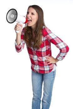 Isolated woman yelling into megaphone