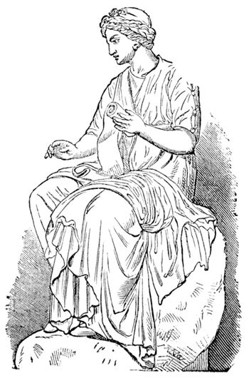 Calliope, Muse of Epic Poetry, vintage engraved illustration